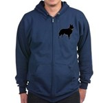 Christmas or Holiday Collie Silhouette Zip Hoodie