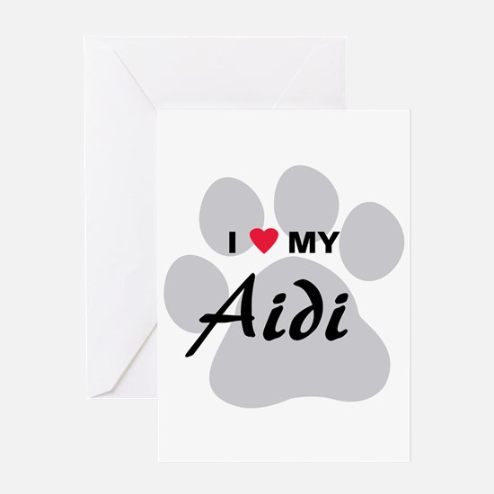 I Love My Aidi Greeting Card