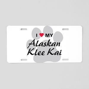 I Love My Alaskan Klee Kai Aluminum License Plate