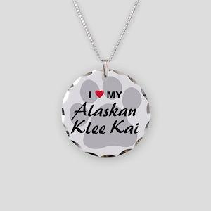 I Love My Alaskan Klee Kai Necklace Circle Charm