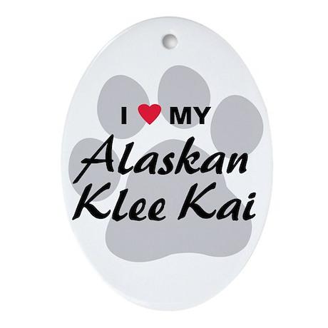 I Love My Alaskan Klee Kai Ornament (Oval)
