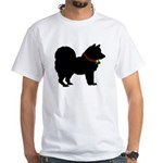 Christmas or Holiday Chow Chow Silhouette White T-