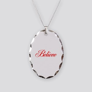BELIEVE Necklace Oval Charm