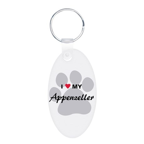 I Love My Appenzeller Aluminum Oval Keychain