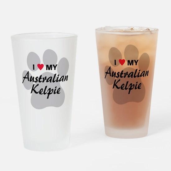 I Love My Australian Kelpie Drinking Glass