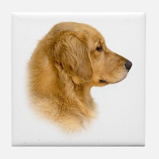 Golden Retriever Portrait Tile Coaster