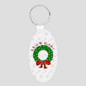 Cherokee Christmas Wreath Aluminum Oval Keychain