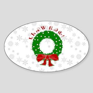 Cherokee Christmas Wreath Sticker (Oval)