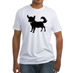 Christmas or Holiday Chihuahua Silhouette Fitted T