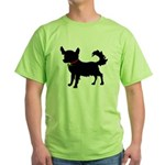 Christmas or Holiday Chihuahua Silhouette Green T-