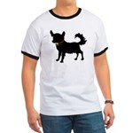 Christmas or Holiday Chihuahua Silhouette Ringer T