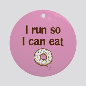 Run to Eat Donuts Ornament (Round)
