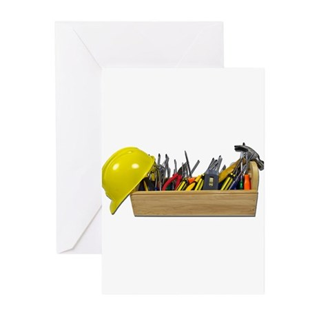 Hardhat Long Wooden Toolbox Greeting Cards (Pk of