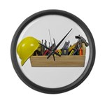 Hardhat Long Wooden Toolbox Large Wall Clock