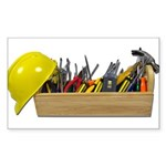 Hardhat Long Wooden Toolbox Sticker (Rectangle)