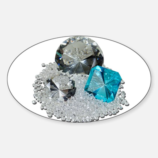 Large Diamond Gems Sticker (Oval)