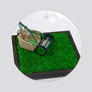 Lawnmower on the Grass Ornament (Round)