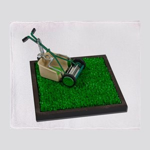 Lawnmower on the Grass Throw Blanket