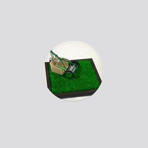 Lawnmower on the Grass Mini Button