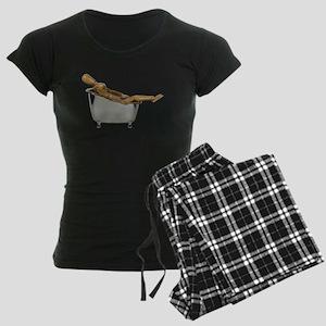 Leaned Back Bathtub Women's Dark Pajamas