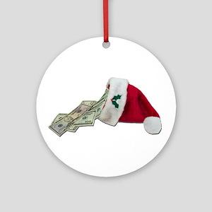 Money Pouring Santa Hat Ornament (Round)