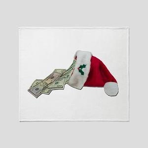 Money Pouring Santa Hat Throw Blanket