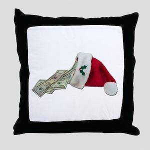 Money Pouring Santa Hat Throw Pillow