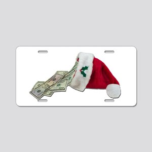 Money Pouring Santa Hat Aluminum License Plate