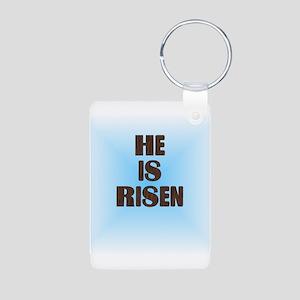He Is Risen Aluminum Photo Keychain