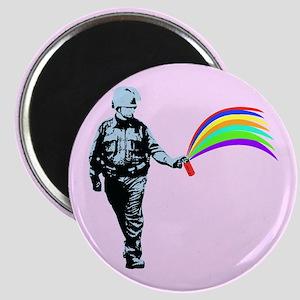 Pepper Spray Cop Rainbow Magnet