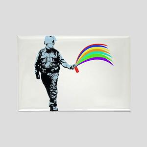 Pepper Spray Cop Rainbow Rectangle Magnet