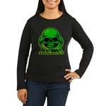 Green Skull Women's Long Sleeve Dark T-Shirt