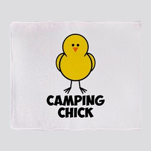 Camping Chick Throw Blanket