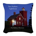 Two Harbors Lighthouse At Dusk Woven Throw Pillow