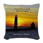Grand Haven Pierhead Lights Woven Throw Pillow