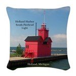 Holland Harbor South Pierhead Woven Throw Pillow