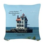 Lorain Harbor West Breakwater Woven Throw Pillow