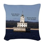 North Manitou Shoal Light Woven Throw Pillow
