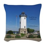 Fond Du Lac Lighthouse Woven Throw Pillow