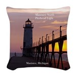 Manistee North Pierhead Light Woven Throw Pillow