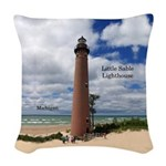 Little Sable Point Lighthouse Woven Throw Pillow