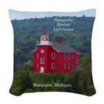 Marquette Harbor Lighthouse Woven Throw Pillow