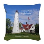 North Point Lighthouse Woven Throw Pillow