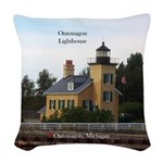 Ontonagon Lighthouse Woven Throw Pillow