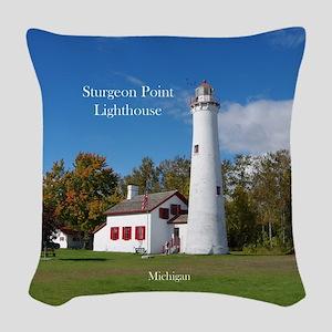 Sturgeon Point Lighthouse Woven Throw Pillow