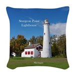 Sturgeon Point Lighthouse Woven Throw Pillow