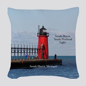 South Haven Pierhead Light Woven Throw Pillow