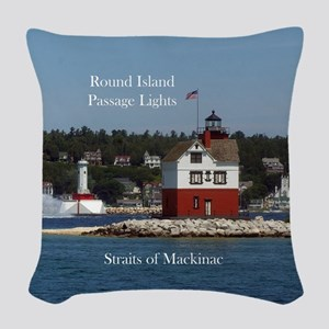 Round Island Passage Lights Woven Throw Pillow