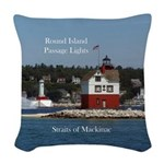 Round Island Passage Lights Woven Throw Pillow