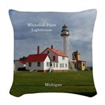 Whitefish Point Lighthouse Woven Throw Pillow